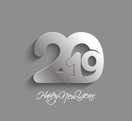 Happy New Year 2019 Text Design  Patter, Vector illustration. Иллюстрация