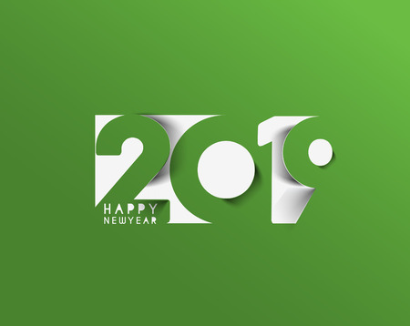 Happy New Year 2019 Text Design  Patter, Vector illustration. Vectores