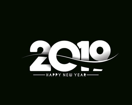 Happy New Year 2019 Text Design  Patter, Vector illustration. 矢量图像