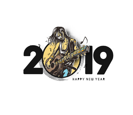 Happy New Year 2019 Text with women guitarists playing guitar Design, Vector illustration.