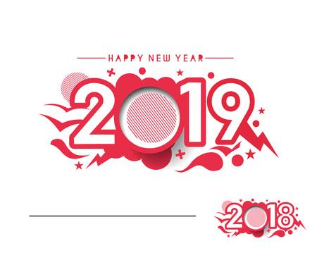 Gelukkig Nieuwjaar 2019 tekst ontwerp geklets, vectorillustratie.