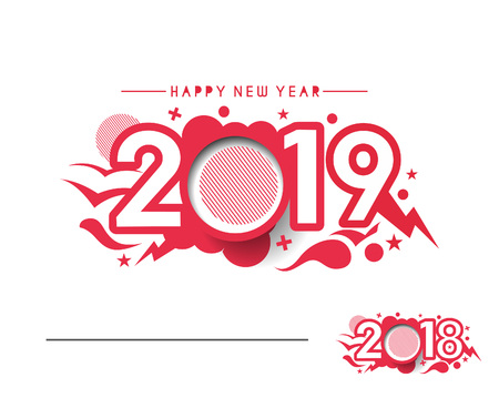 Happy New Year 2019 Text Design  Patter, Vector illustration. Vettoriali