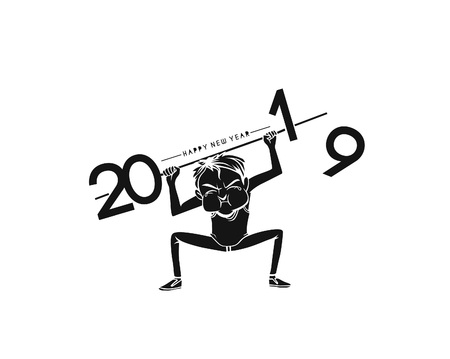 Boy lifting a heavy weight work of next year 2019. Business concept. vector illustration.