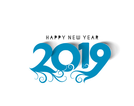 Happy New Year 2019 Text Peel off Paper Design  Pattern