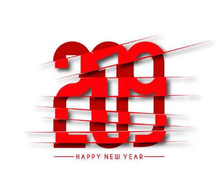 Happy New Year 2019 Text Peel off Paper Design  Patter, Vector illustration. Ilustração