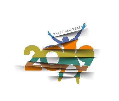 Happy new year 2018 Text with Jumping Men Peel off Paper Design Patter, Vector illustration. Ilustração