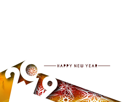 Abstract Happy New Year 2019 Text Design Patter, Vector illustration. Çizim