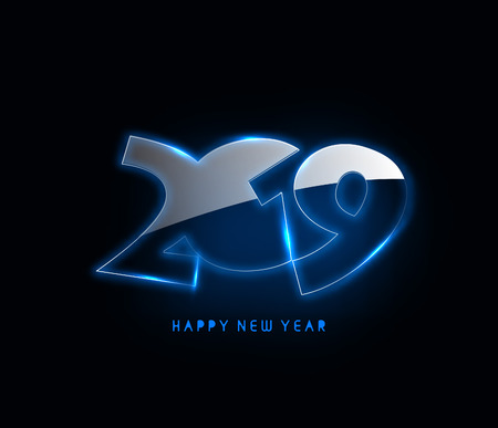 Happy New Year 2019 Glowing Text Design Patter, Vector illustration.