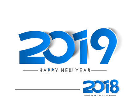 Happy New Year 2019 & 2018 Text Peel off Paper Design  Pattern Ilustração