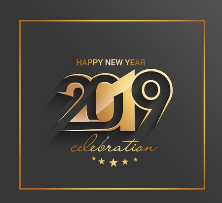 Feliz año nuevo 2019 patrón de diseño de texto dorado Ilustración de vector