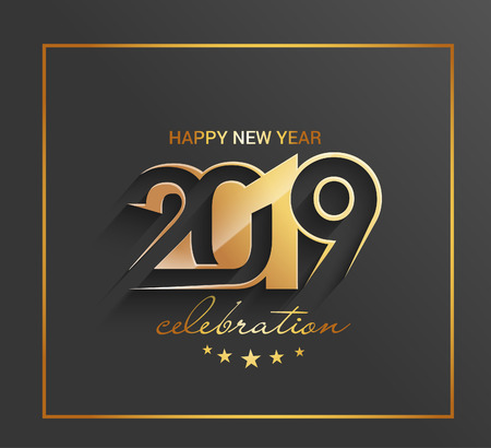 Happy New Year 2019 Golden Text Design  Pattern