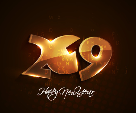Happy New Year 2019 Text Design Pattern Illustration