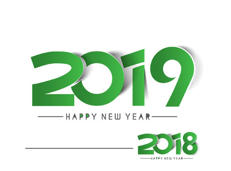 Happy New Year 2019 & 2018 Text Peel off Paper Design  Pattern Illustration