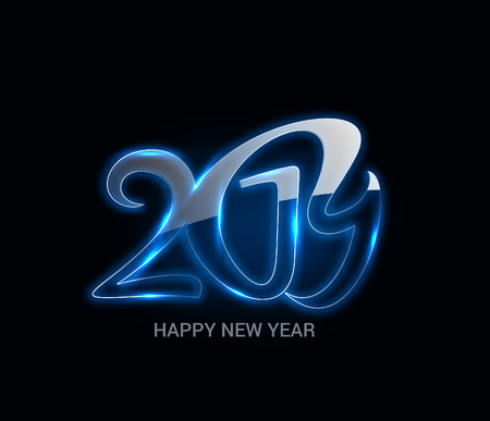 Happy New Year 2019 Glowing Text Design Pattern
