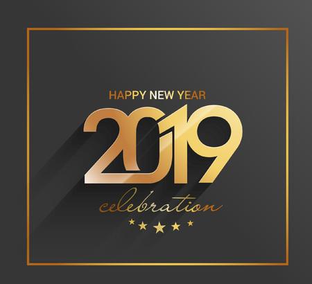 Happy New Year 2019 Golden Text Design