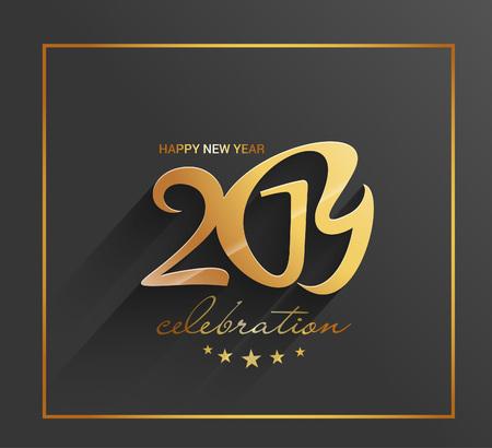 Happy New Year 2019 Golden Text Design Pattern