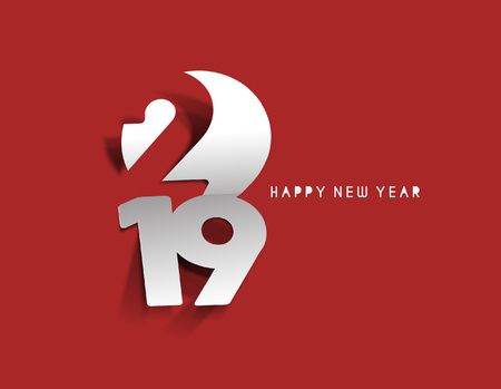 Happy New Year 2019 Text Peel off Paper Design