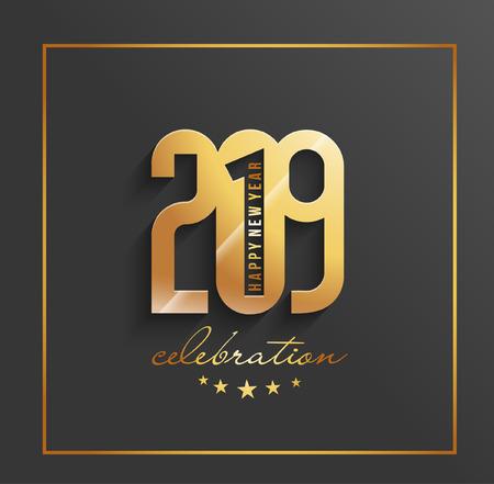 Happy New Year 2019 Text Design Pattern Illustration