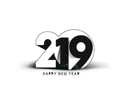 Happy New Year 2019 Text Design Pattern Ilustração