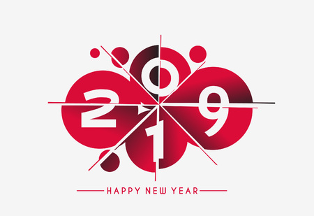 Happy New Year 2019 Text Cut Paper Design Patter, Vector illustration.