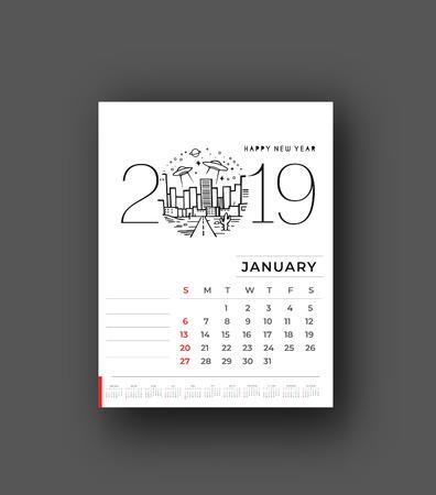 Feliz año nuevo calendario 2019 - elementos de diseño de vacaciones de año nuevo para tarjetas navideñas, cartel de banner de calendario para decoraciones, fondo de ilustración vectorial.