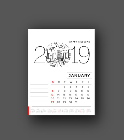 Frohes neues Jahr 2019 Kalender - Neujahrsfeiertagsgestaltungselemente für Weihnachtskarten, Kalenderfahnenplakat für Dekorationen, Vektorillustrations-Hintergrund.