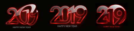 Set of Happy New Year 2019 Glowing Text Design Patter, Vector illustration.