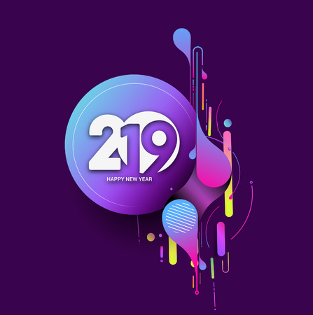 Creative Happy New Year 2019 Text on Abstract modern dynamic background. Perfect for presentations, flyers and banners.
