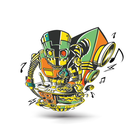 Robot party concept design for t-shirt print, vector illustration. Illustration