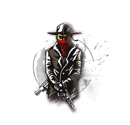 Silhouette of a gangster with a gun in hand