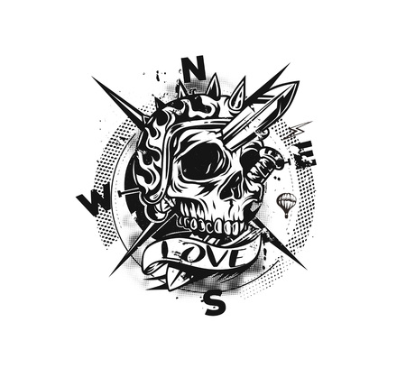 Skull Compass T shirt Graphic Design