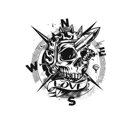 Skull Compass T shirt Graphic Design Vector Illustration