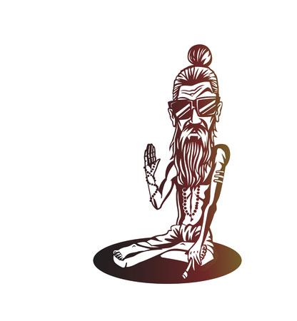 Yogi, Funky baba - Illustration for the Day Of Honoring Celebration Guru Purnima.