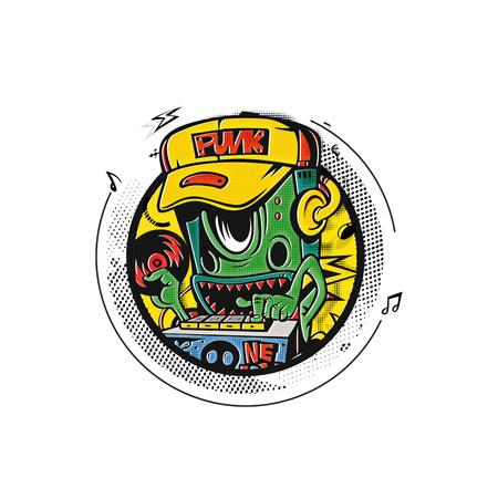 Robot party concept design per la stampa di t-shirt, illustrazione vettoriale. Vettoriali
