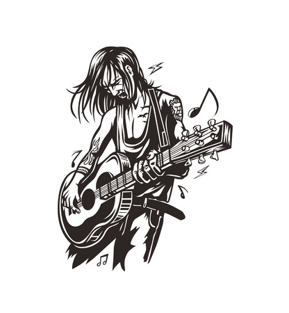 Rockstar guy playing guitar with text move the beat, vector illustration.
