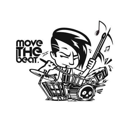 Rock star Boy playing drum t-shirt design