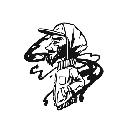 Hipster heads with beards, Hand drawn cartoon character t shirt design. Bearded man. Banque d'images - 116126695