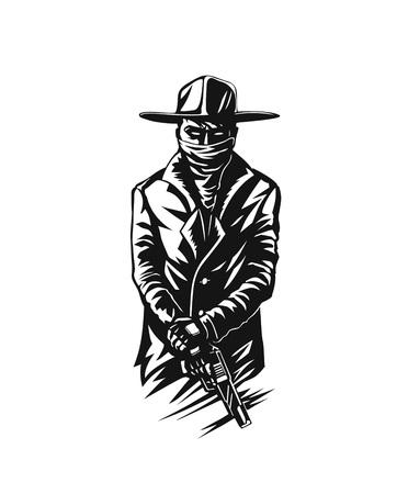 Silhouette d'un gangster avec une arme à la main