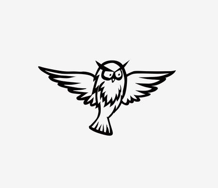 Owl - vector illustration. Icon design on white Stock Illustratie