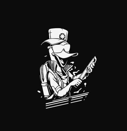 Duck thief cartoon holding knife in his hand concept for t-shirt print Çizim