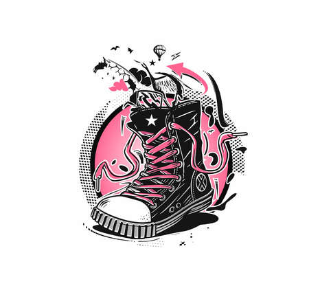 Hipster sneakers in hand drawn graphic Standard-Bild - 116126504