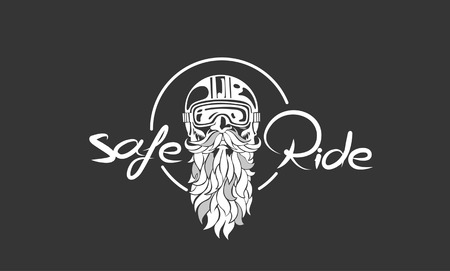 Sketch of hipster rider wearing a helmet for safe ride, vector illustration.