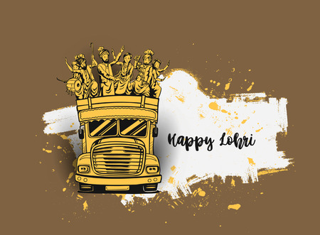 Happy Lohri India holiday festival of punjabi bhangra dance Illustration