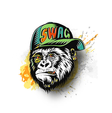 SWAG monkey with cap - Monkey modern street style attributes for t-shirt and tatto.