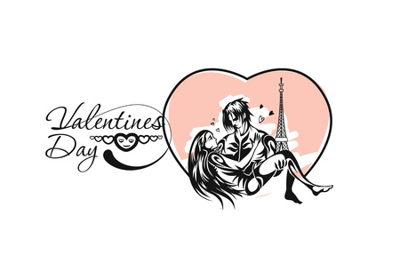 Romantic lovers for Valentine's Day, Cartoon Hand Drawn Sketch