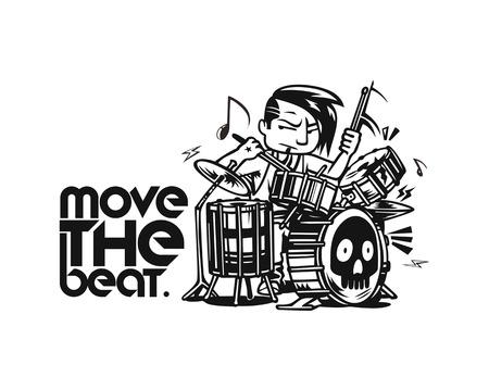 Rockstar Boy playing drum t-shirt design, vector illustration.