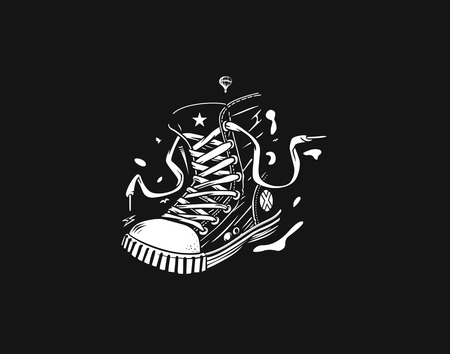 Hipster sneakers in hand drawn graphic