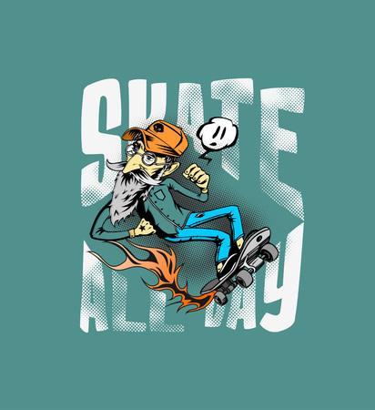 Diseño de camiseta Cool hipster skater con patineta, Ilustración de Vector de boceto dibujado a mano.