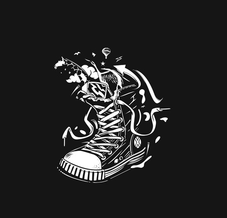 Hipster sneakers in hand drawn graphic Illustration