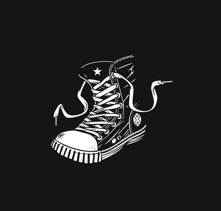 Hipster sneakers in hand drawn graphic Vektorgrafik